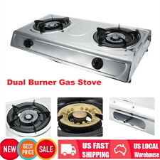 Stainless Doul Burner Gas Stove Home Kitchen Cooktop Cooker W/No-slip Rubber Leg