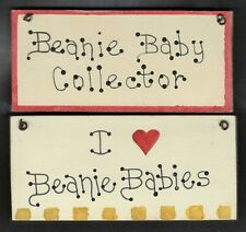 Beanie Baby Wall Sign/Plaque (Collector / I Love) Set (2) Hanging Ty (Small 4x2)