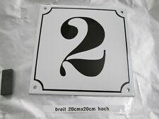 Hausnummer Mega Groß  Emaille Nr 2 schwarze Zahl weißer Hintergrund 20cmx20 cm
