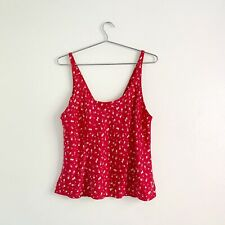 Vintage Red Silk Heart Print Camisole Tank Top Size L