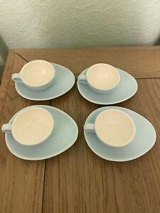 Nigella Lawson Living Kitchen Small Espresso Cups Teardrop Saucers Blue 50ml X4
