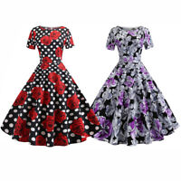 Women Flared Pin Up 50s 60S Rockabilly Rose Print Swing Vintage Skater Dress
