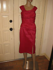 TADASHI COLLECTION SZ 6 FITTED OFF SHOULDERS SLEEVELESS RUCHED ROSE RED DRESS