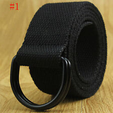 Hot Men's Women's Canvas Belt with Double D Ring Metal Buckle Fashion Waistband
