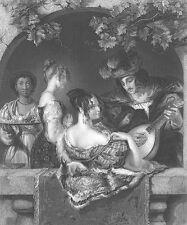 MAN SINGS TO BEAUTIFUL GIRL PRETTY DRESS ON BALCONY ~ 1854 Art Print Engraving