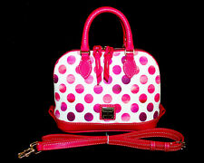 DOONEY & BOURKE Bitsy Zip Zip Satchel White w/ Pink Polka Dots & Leather Trim