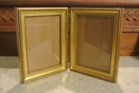 "Vintage Wood Double Photo Frame 8-1/2"" High"