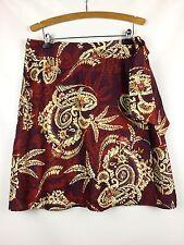 TALBOTS 100% Silk Wrap Skirt Lined Reds Cream Print Size 14