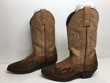 VTG WOMENS UNBRANDED SNIP TOE COWBOY LEATHER BROWN BOOTS SIZE 5.5 M