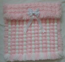 PINK & WHITE POM POM POPCORN LIGHTWEIGHT BABY GIRL  BLANKET WITH REMOVABLE BOW