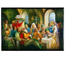Russian Palekh Style Lacquered Trinket Box with Boyar Wedding Feast Artwork