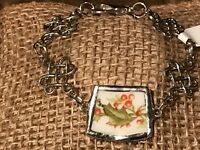 Recycled Porcelain & Metal Jewelry, Holiday Christmas Holly Bracelet (SIZABLE)