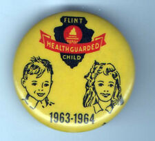 New listing 1963 pin Flint Healthguarded Child pinback 1963-1964 button