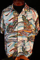 RARE VINTAGE 1940'S PHOTO PRINT HAWAIIAN SHIRT SIZE M-L