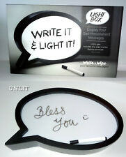 Write On LED SPEECH BUBBLE LIGHT BOX Dry Wipe MESSAGE BOARD Uses 3x AA NOTE SIGN