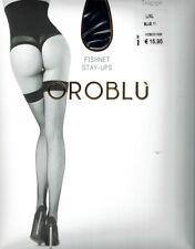 Oroblu Bas Tricot Halterlos, Micronetz,glänzender Abschlußrand, blau, L/XL=42-46