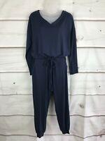 AnyBody Petite Cozy Knit Long Sleeve Jumpsuit Pockets Drawstring Womens PXXS