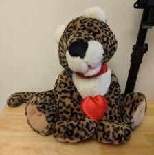 Hallmark Valentine Plush Leopard Jaguar Wild Cat w/ Red Collar, Heart