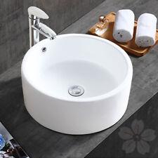 White Round Ceramic Vessel Sink Bowl Porcelain Bathroom Countertop Vanity Basin