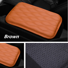 Universal Leather Auto Car Armrest Mat Covers Center Console Cushion Pads Brown