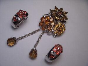 14K White Gold Orange Citrine Smokey Topaz Garnet Pendant Necklace Earrings Set