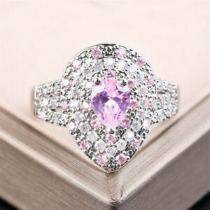 Fashion 925 Silver Filled Wedding Ring for Women Pink Sapphire Jewellery Sz 6