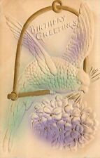 Green Purple Parrot Perched on Gold Bird Swings~Violet Bouquet~Emboss~Airbrush