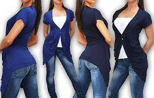 Feine Kurzarm Damen-Strickjacken ohne Muster