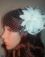 "Ivory birdcage bandeau wedding veil 9"" feather and pearl fascinator clip and pin"