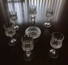 Crystal 7 Piece Liquor / Whiskey / Wine Decanter Set with 6 Wine Goblets