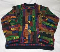 Vtg Protege Coogi Style Colorful Mercerized Sweater Biggy Hip Hop 90's Cosby XXL