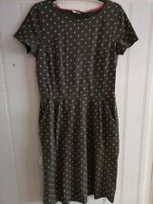 Boden Jersey Dress Size 12 Khaki Green Polka Dot Knee Length