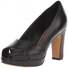 Clarks Artisan Jenness Cloud Black Leather Peep-toe Pumps Sz 10 W Shoes