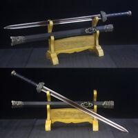 Handmade Damascus Chinese Sword Jian (剑) Red Folded Steel Full Tang Blade Sharp