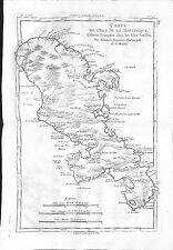 More details for antique maps, bonne, carte de l'isle martinique colonie francois / antille