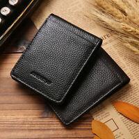 100% Genuine Leather Men's Money Clip Business Credit Card Holder Bifold Wallet