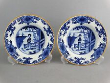 18th-Century Dutch Delft Plates with Figures, Long Eliza, Pair