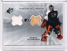 2001/02 UD SPX ROMAN CECHMANEK HOCKEY TREASURES GAME USED JERSEY & STICK HT/RC