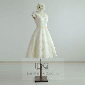1950's Vintage Knielang Spitze Brautkleid Standesamtkleid Ivory Creme Träger