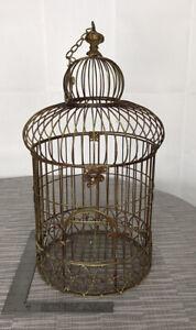 "Decorative 24"" X 12 Metal Bird Cage Bronze Tone Boho  Latch Hinged Top Round"