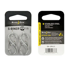 Nite Ize S-Biner Steel Size 1 Twin Pack Stainless Steel SB1-2PK-11