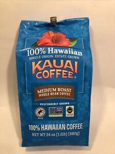 1 Large Bag 100% Hawaiian, Kauai Coffee, Medium Roast Whole Bean, 24 oz/1.5 lbs