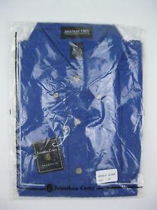 JONATHAN COREY Men Dress Shirt Button-down Blue Short Sleeve Medium Pocket NWOT