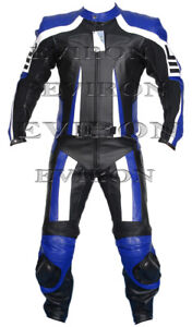Motorcycle Eviron Leather Suit Black and Blue 2Piece