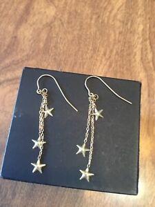 14k Yellow Gold Pair Of Dangle Star Pierced Earrings 0.6 Grams