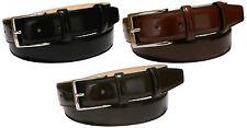 Cintura elegante uomo lucida in pelle fodera cuoio 3,5 cm nichel free regolabile
