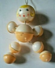 """Vintage Celluloid Plastic Baby Nursery Decor Rattle 8.5"""" Made In Hong kong"""