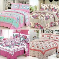 Queen King Size Patchwork Quilted Bedspread Set Coverlet Blanket Throw Rug New