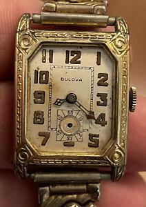 Rare Vintage ART DECO Bulova Cal 9an Mans wristwatch Gold Plated Non Running