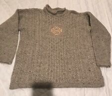 Highland Home Industries 100% Pure New Wool Speckled Gray Embroidered Size L